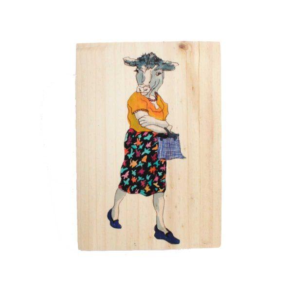 Ilustración en madera Vaca